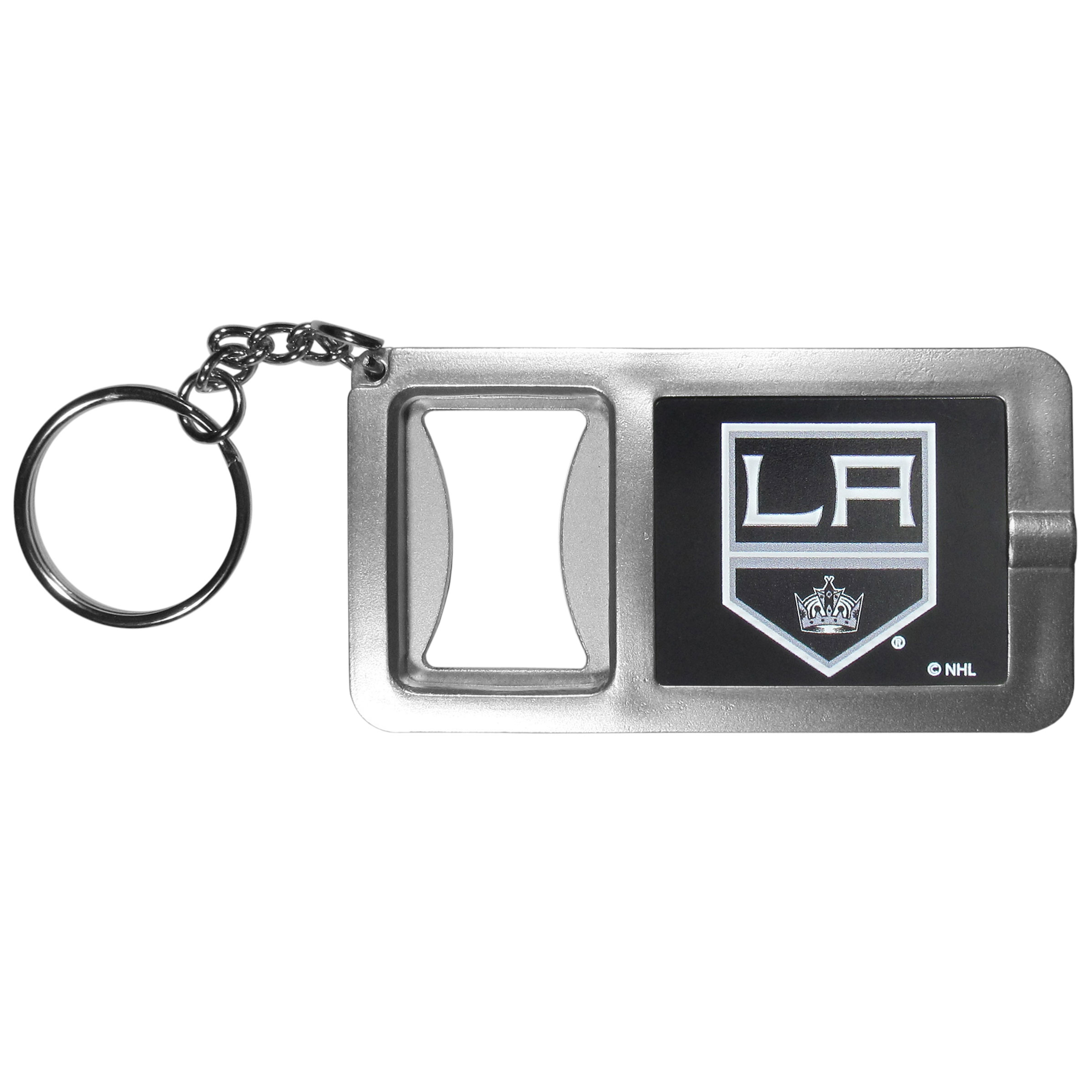 Los Angeles Kings® Flashlight Key Chain with Bottle Opener - Never be without light with our Los Angeles Kings® flashlight keychain that features a handy bottle opener feature. This versatile key chain is perfect for camping and travel and is a great way to show off your team pride!