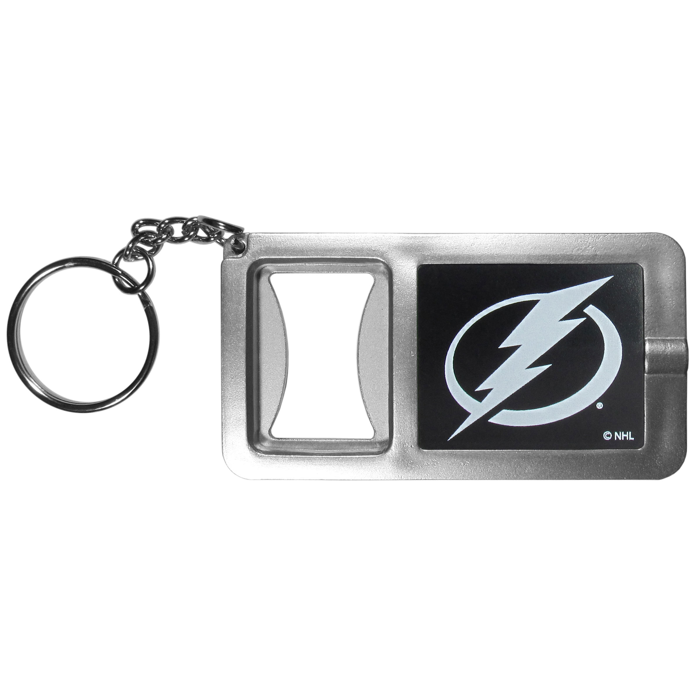 Tampa Bay Lightning® Flashlight Key Chain with Bottle Opener - Never be without light with our Tampa Bay Lightning® flashlight keychain that features a handy bottle opener feature. This versatile key chain is perfect for camping and travel and is a great way to show off your team pride!
