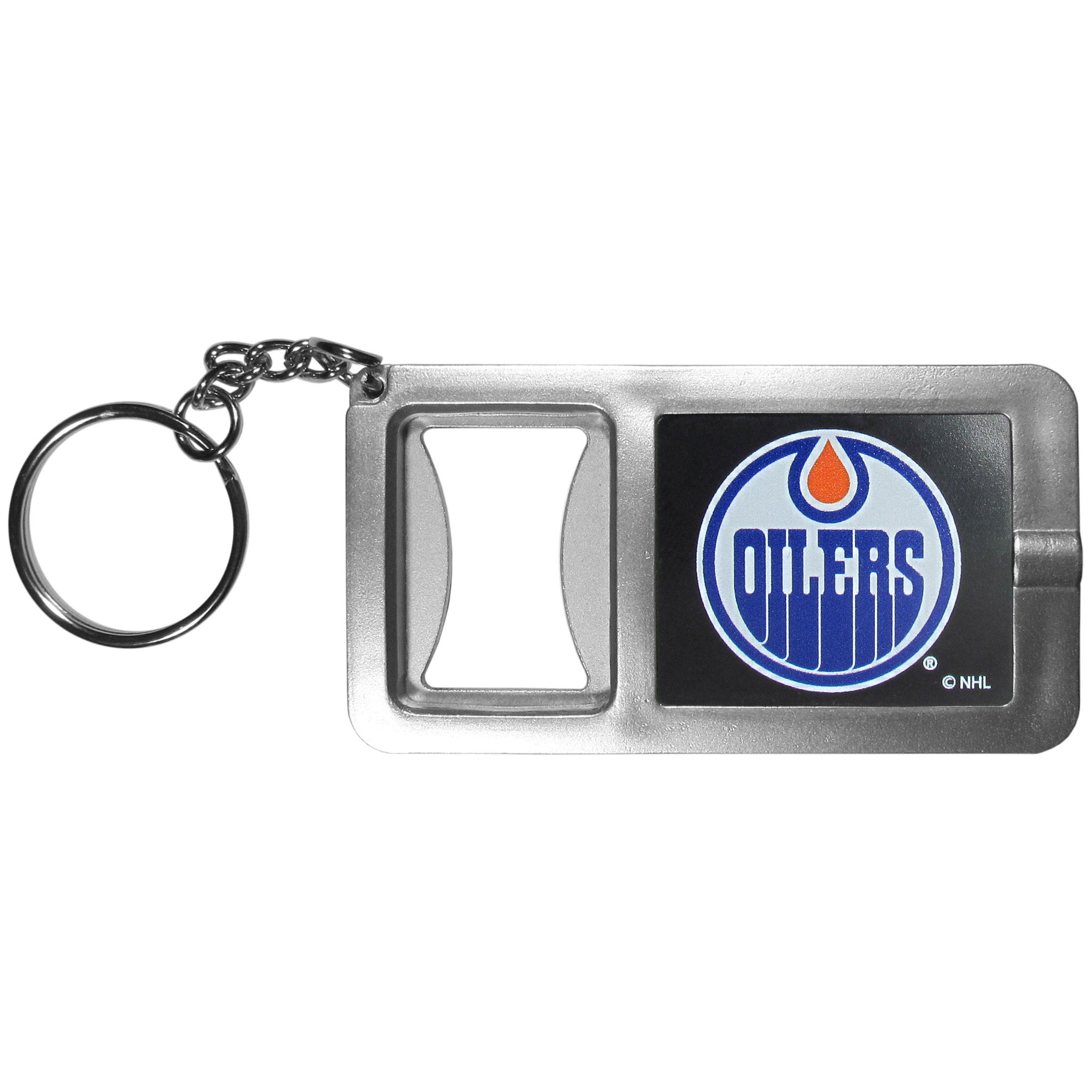 Edmonton Oilers® Flashlight Key Chain with Bottle Opener - Never be without light with our Edmonton Oilers® flashlight keychain that features a handy bottle opener feature. This versatile key chain is perfect for camping and travel and is a great way to show off your team pride!