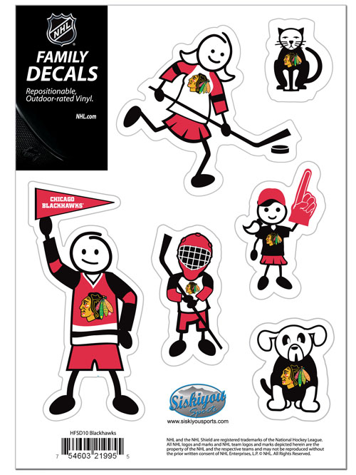 "Chicago Blackhawks Small Family Decal Set - Show off your Chicago Blackhawks pride with these Chicago Blackhawks small family automotive decals. The Chicago Blackhawks Small Family Decal Set includes 6 individual family themed decals that each feature the Chicago Blackhawks logo. The 5"" x 7"" Chicago Blackhawks Small Family Decal Set is made of outdoor rated, repositionable vinyl for durability and easy application.  Thank you for visiting CrazedOutSports"