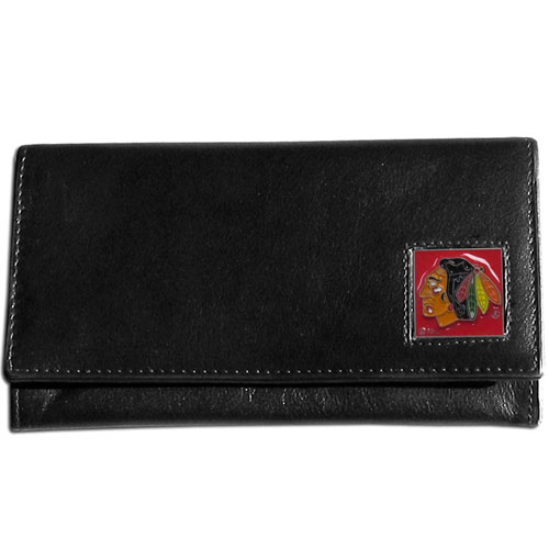 Chicago Blackhawks Leather Women's Wallet - Officially licensed NHL Chicago Blackhawks genuine leather women's pocketbook features 9 credit card slots, a windowed ID slot, spacious front pocket, inner pocket and zippered coin pocket. The front of the Chicago Blackhawks pocketbook has a hand painted metal square with the Chicago Blackhawks emblem on the front.  Thank you for visiting CrazedOutSports