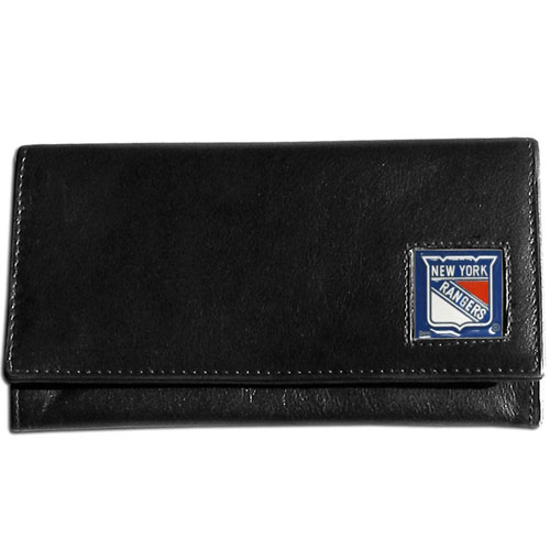 NHL Female Wallet - New York Rangers - This New York Rangers genuine leather women's pocketbook features 9 credit card slots, a windowed ID slot, spacious front pocket, inner pocket and zippered coin pocket. The front of the New York Rangers pocketbook has a hand painted metal square with the New York Rangers primary logo. Thank you for visiting CrazedOutSports