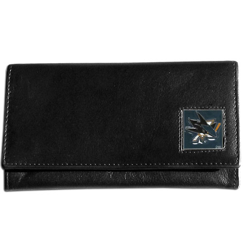 NHL Female Wallet - San Jose Sharks - This San Jose Sharks genuine leather women's pocketbook features 9 credit card slots, a windowed ID slot, spacious front pocket, inner pocket and zippered coin pocket. The front of the San Jose Sharks pocketbook has a hand painted metal square with the San Jose Sharks primary logo. Thank you for visiting CrazedOutSports