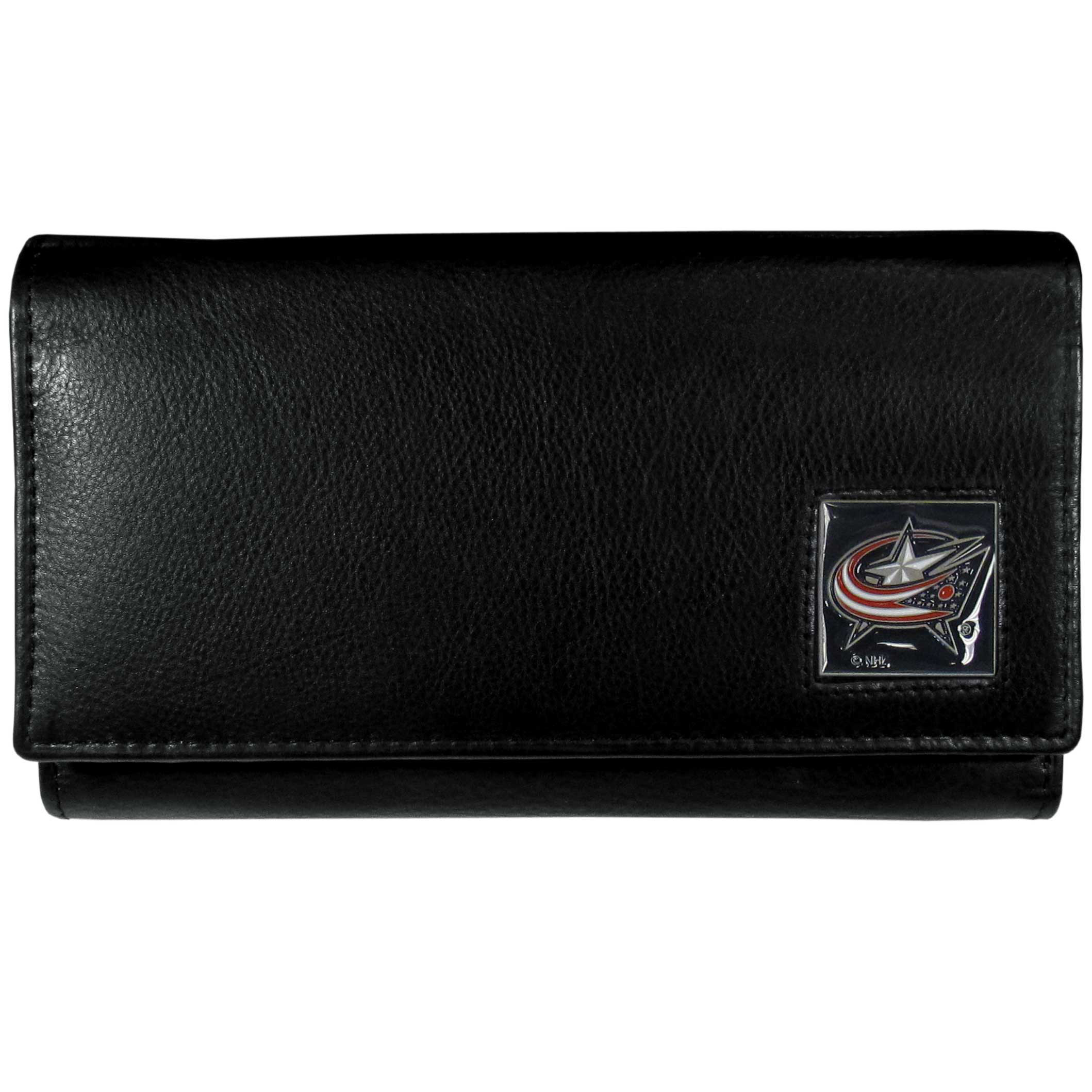 Columbus Blue Jackets® Leather Women's Wallet - This genuine leather women's pocketbook features 9 credit card slots, a windowed ID slot, spacious front pocket, inner pocket and zippered coin pocket. The front of the pocketbook has a hand painted metal square with the Columbus Blue Jackets® primary logo.