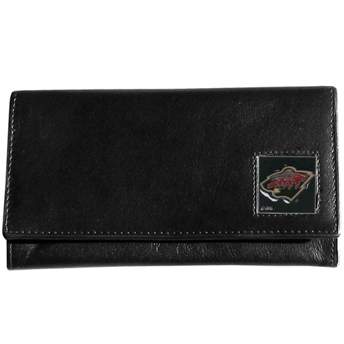 Minnesota Wild Leather Women's Wallet - Officially licensed NHL Minnesota Wild genuine leather women's pocketbook features 9 credit card slots, a windowed ID slot, spacious front pocket, inner pocket and zippered coin pocket. The front of the Minnesota Wild pocketbook has a hand painted metal square with the Minnesota Wild emblem on the front.  Thank you for visiting CrazedOutSports
