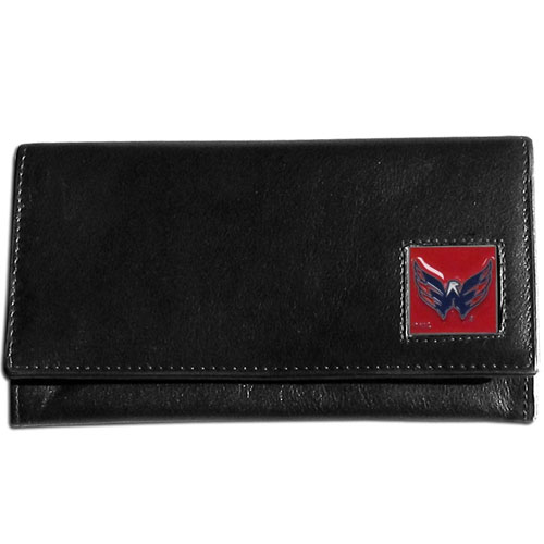 Washington Capitals Leather Women's Wallet - Officially licensed NHL Washington Capitals genuine leather women's pocketbook features 9 credit card slots, a windowed ID slot, spacious front pocket, inner pocket and zippered coin pocket. The front of the Washington Capitals pocketbook has a hand painted metal square with the Washington Capitals emblem on the front.  Thank you for visiting CrazedOutSports