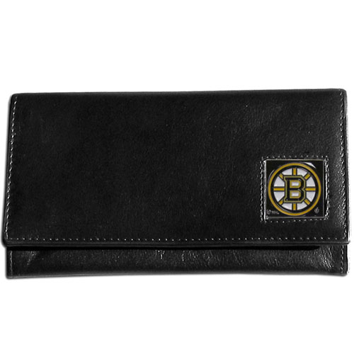Boston Bruins Leather Women's Wallet - Officially licensed NHL Boston Bruins genuine leather women's pocketbook features 9 credit card slots, a windowed ID slot, spacious front pocket, inner pocket and zippered coin pocket. The front of the Boston Bruins pocketbook has a hand painted metal square with the Boston Bruins emblem on the front.  Thank you for visiting CrazedOutSports
