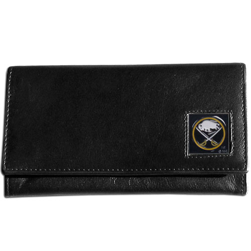 NHL Female Wallet - Buffalo Sabres - This Buffalo Sabres genuine leather women's pocketbook features 9 credit card slots, a windowed ID slot, spacious front pocket, inner pocket and zippered coin pocket. The front of the Buffalo Sabres pocketbook has a hand painted metal square with the Buffalo Sabres primary logo.
