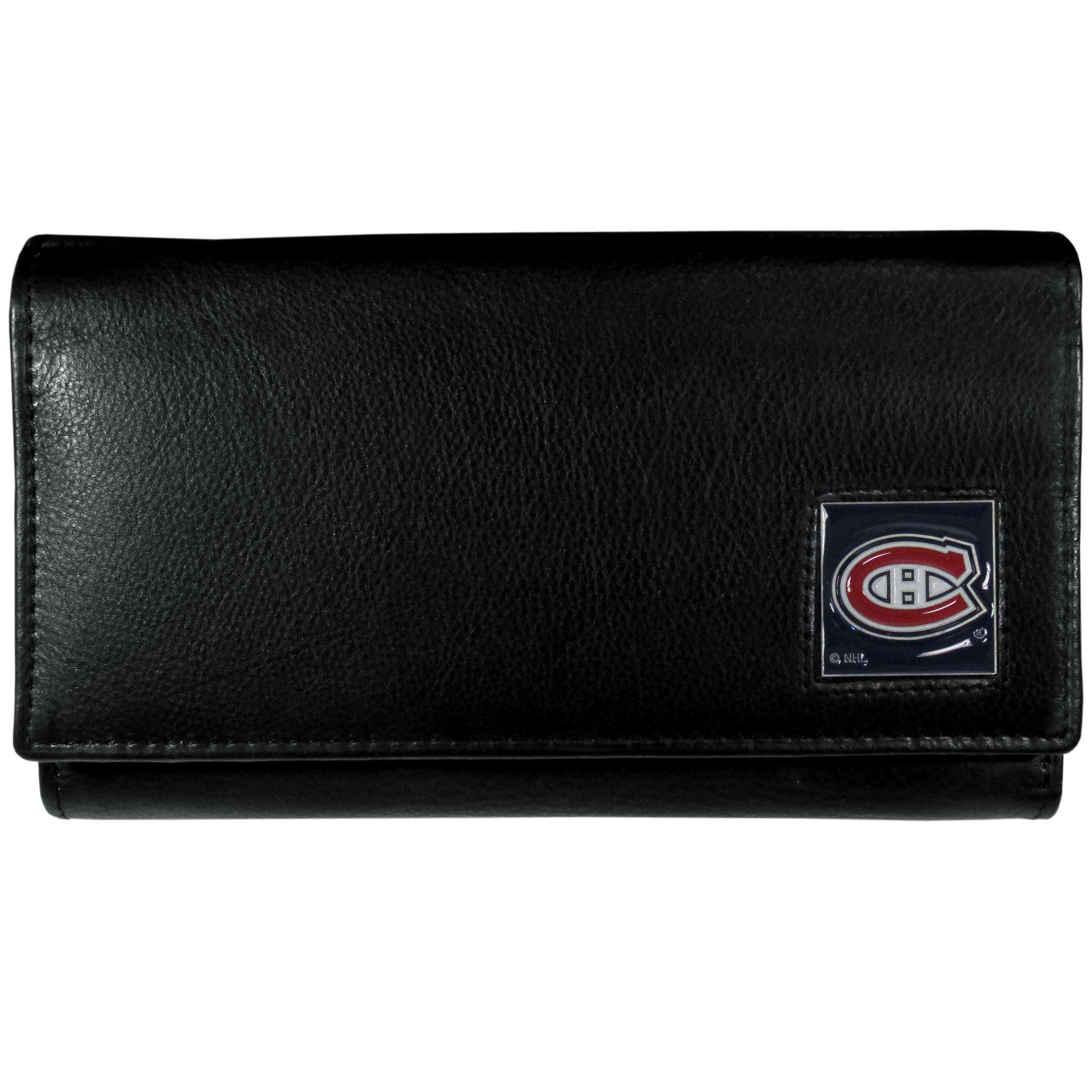 Montreal Canadiens® Leather Women's Wallet - This genuine leather women's pocketbook features 9 credit card slots, a windowed ID slot, spacious front pocket, inner pocket and zippered coin pocket. The front of the pocketbook has a hand painted metal square with the Montreal Canadiens® primary logo.