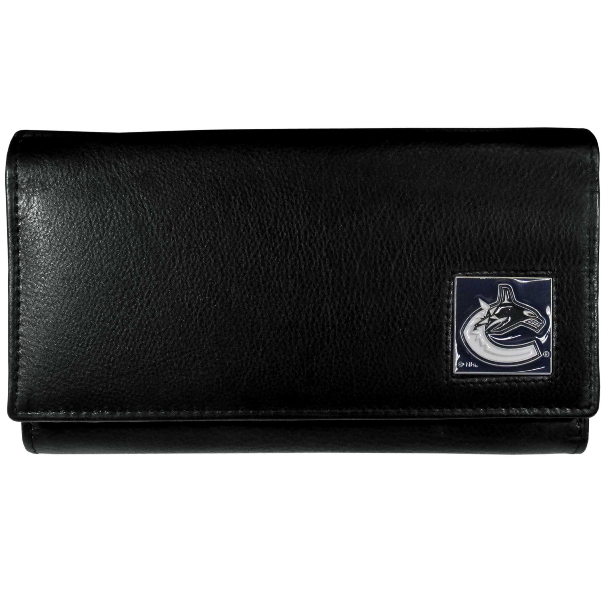 Vancouver Canucks® Leather Women's Wallet - This genuine leather women's pocketbook features 9 credit card slots, a windowed ID slot, spacious front pocket, inner pocket and zippered coin pocket. The front of the pocketbook has a hand painted metal square with the Vancouver Canucks® primary logo.