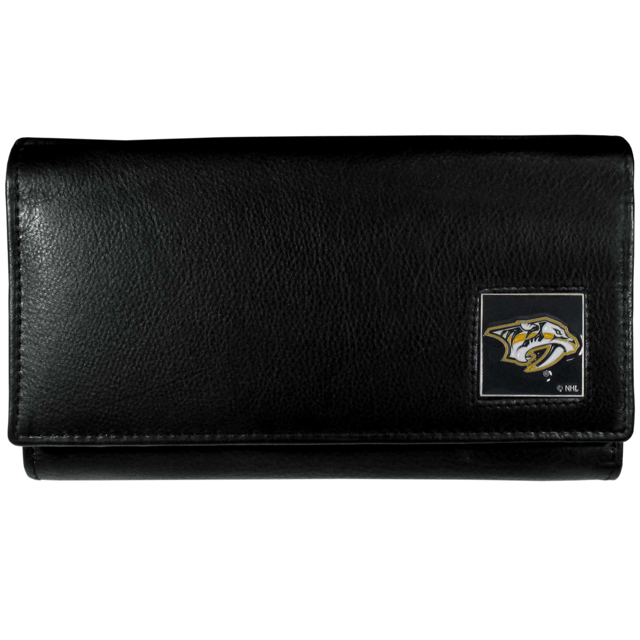 Nashville Predators® Leather Women's Wallet - This genuine leather women's pocketbook features 9 credit card slots, a windowed ID slot, spacious front pocket, inner pocket and zippered coin pocket. The front of the pocketbook has a hand painted metal square with the Nashville Predators® primary logo.