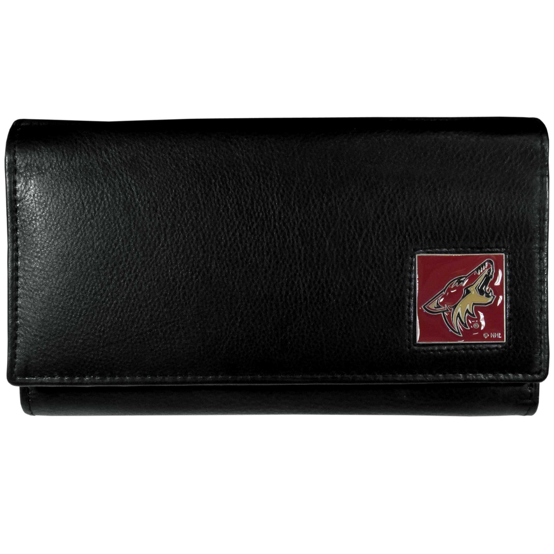 Arizona Coyotes® Leather Women's Wallet - This genuine leather women's pocketbook features 9 credit card slots, a windowed ID slot, spacious front pocket, inner pocket and zippered coin pocket. The front of the pocketbook has a hand painted metal square with the Arizona Coyotes® primary logo.