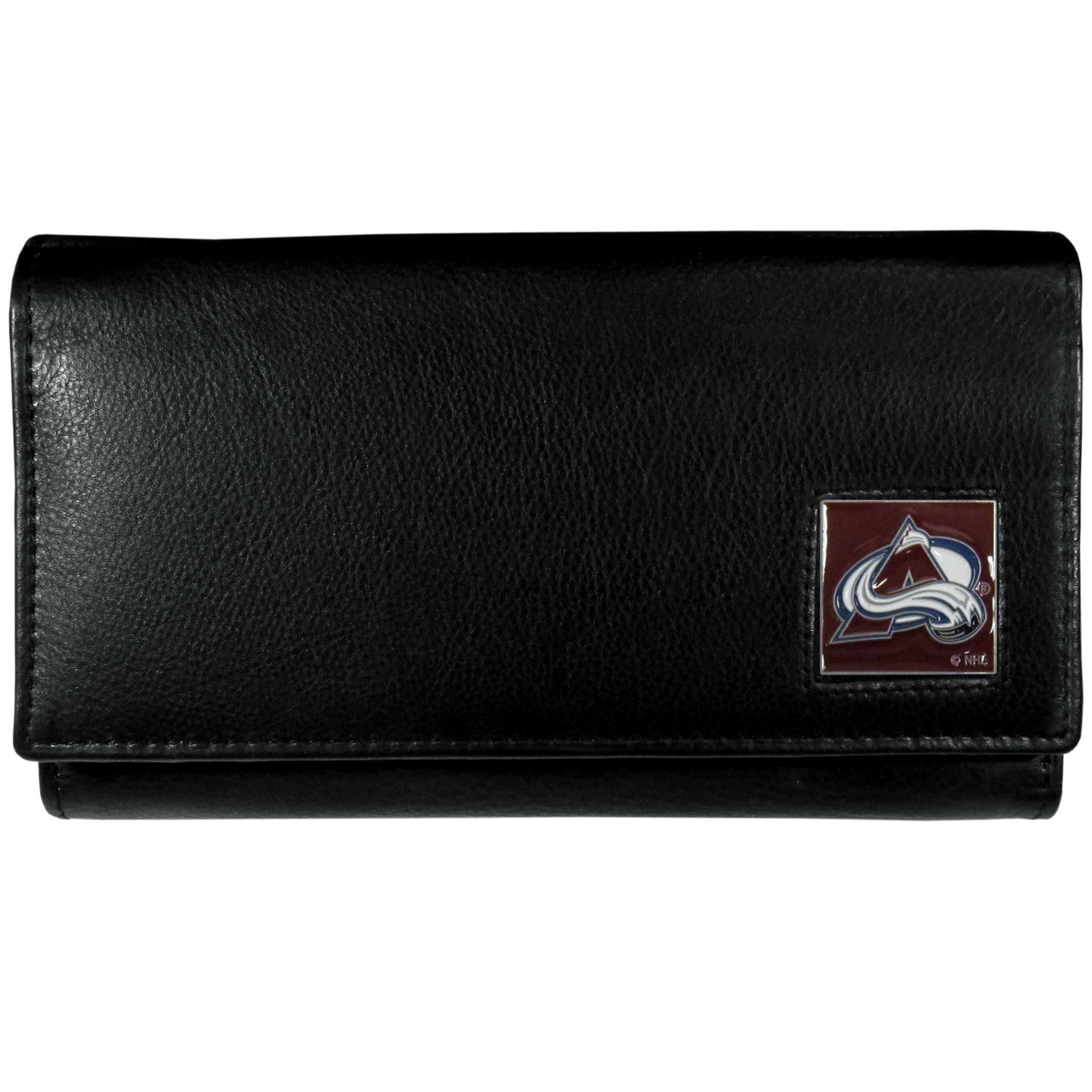 Colorado Avalanche® Leather Women's Wallet - This genuine leather women's pocketbook features 9 credit card slots, a windowed ID slot, spacious front pocket, inner pocket and zippered coin pocket. The front of the pocketbook has a hand painted metal square with the Colorado Avalanche® primary logo.