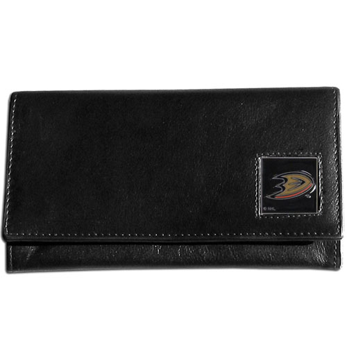 Anaheim Ducks Leather Women's Wallet - Officially licensed NHL Anaheim Ducks genuine leather women's pocketbook features 9 credit card slots, a windowed ID slot, spacious front pocket, inner pocket and zippered coin pocket. The front of the Anaheim Ducks pocketbook has a hand painted metal square with the Anaheim Ducks emblem on the front.  Thank you for visiting CrazedOutSports