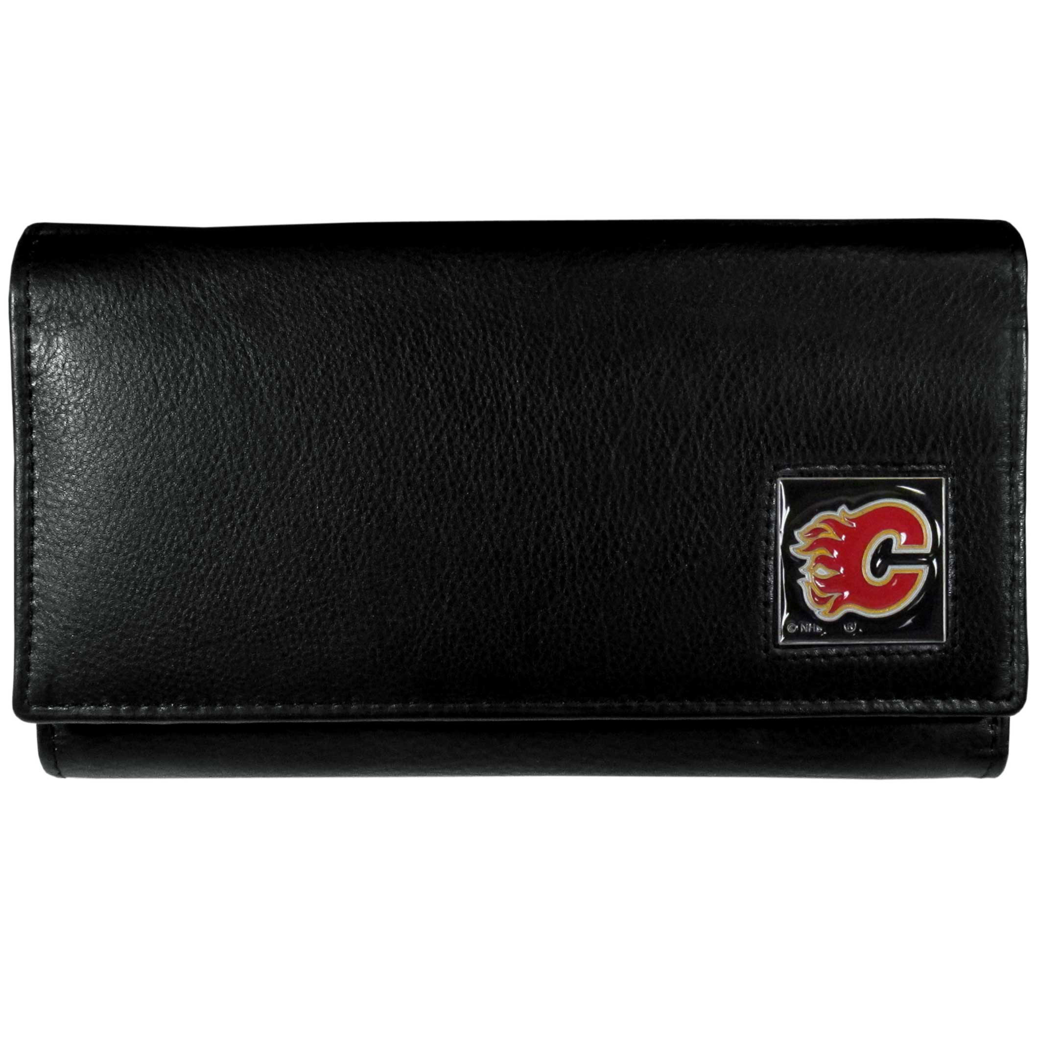 Calgary Flames® Leather Women's Wallet - This genuine leather women's pocketbook features 9 credit card slots, a windowed ID slot, spacious front pocket, inner pocket and zippered coin pocket. The front of the pocketbook has a hand painted metal square with the Calgary Flames® primary logo.