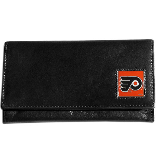 NHL Female Wallet - Philadelphia Flyers - This Philadelphia Flyers genuine leather women's pocketbook features 9 credit card slots, a windowed ID slot, spacious front pocket, inner pocket and zippered coin pocket. The front of the Philadelphia Flyers pocketbook has a hand painted metal square with the Philadelphia Flyers primary logo.