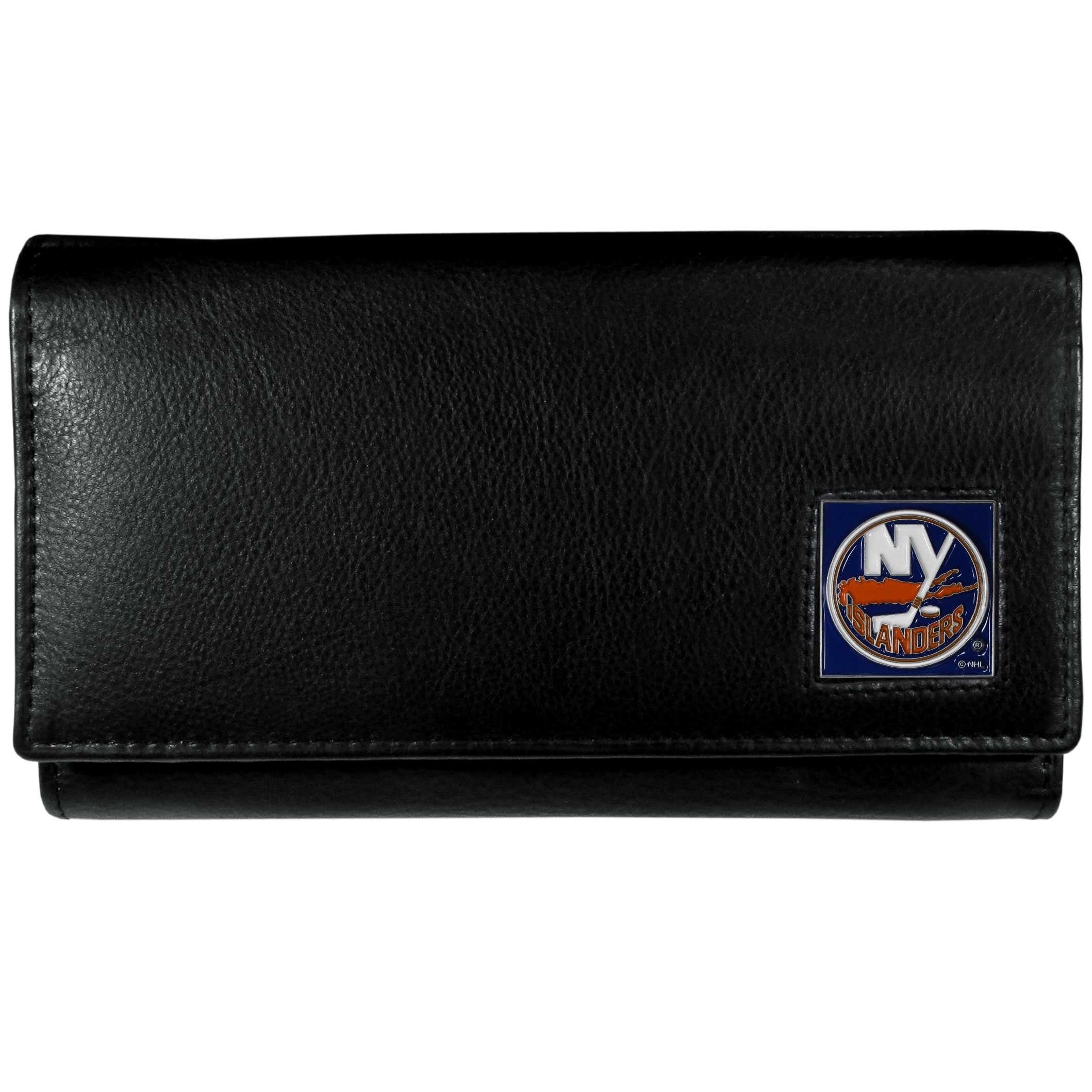 New York Islanders® Leather Women's Wallet - This genuine leather women's pocketbook features 9 credit card slots, a windowed ID slot, spacious front pocket, inner pocket and zippered coin pocket. The front of the pocketbook has a hand painted metal square with the New York Islanders® primary logo.