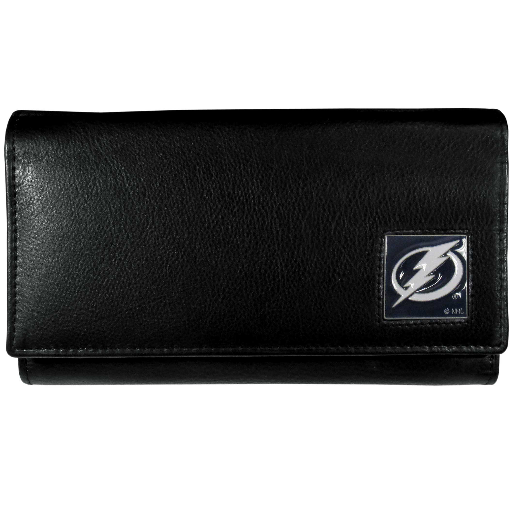 Tampa Bay Lightning® Leather Women's Wallet - This genuine leather women's pocketbook features 9 credit card slots, a windowed ID slot, spacious front pocket, inner pocket and zippered coin pocket. The front of the pocketbook has a hand painted metal square with the Tampa Bay Lightning® primary logo.