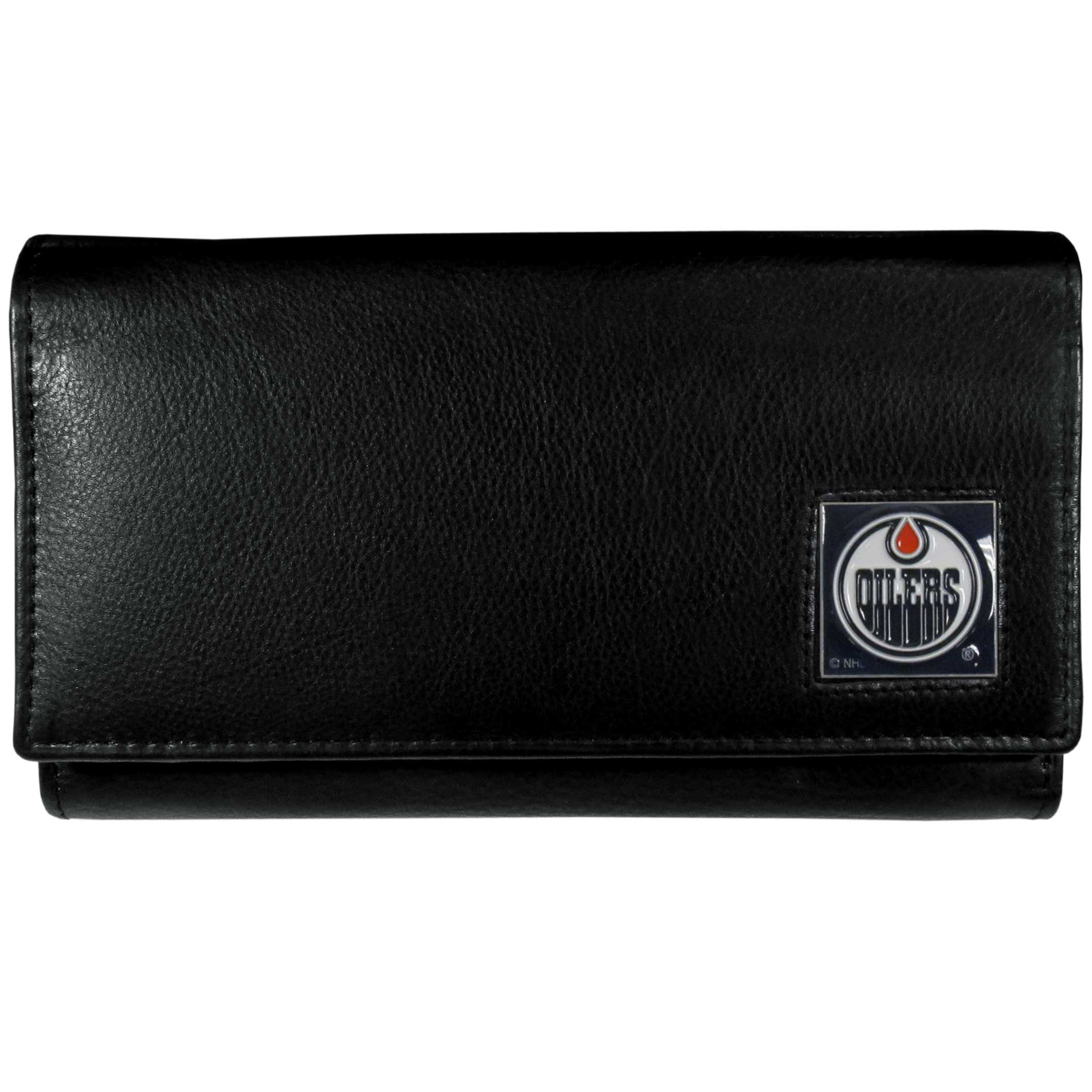 Edmonton Oilers® Leather Women's Wallet - This genuine leather women's pocketbook features 9 credit card slots, a windowed ID slot, spacious front pocket, inner pocket and zippered coin pocket. The front of the pocketbook has a hand painted metal square with the Edmonton Oilers® primary logo.