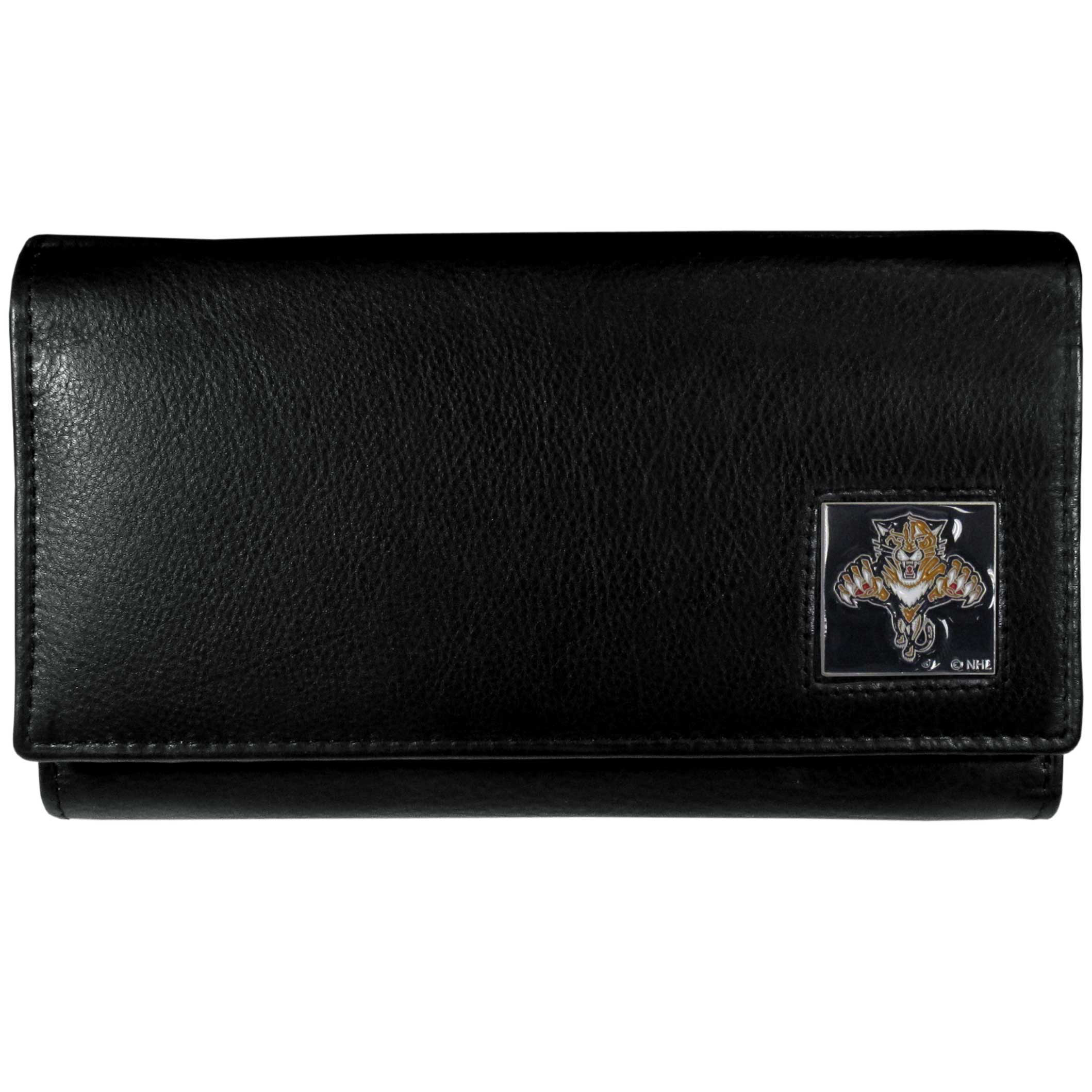 Florida Panthers® Leather Women's Wallet - This genuine leather women's pocketbook features 9 credit card slots, a windowed ID slot, spacious front pocket, inner pocket and zippered coin pocket. The front of the pocketbook has a hand painted metal square with the Florida Panthers® primary logo.