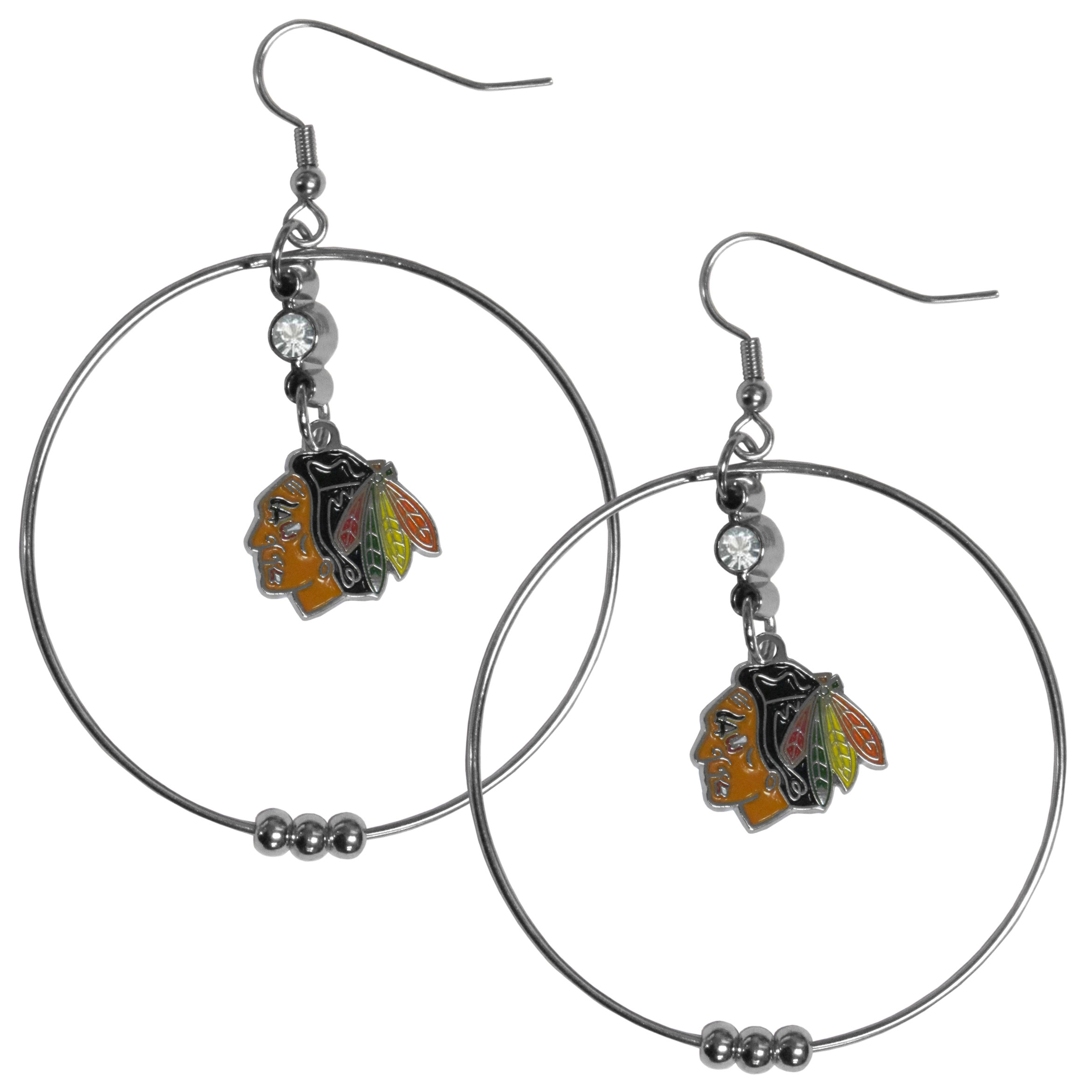 Chicago Blackhawks® 2 Inch Hoop Earrings - Our large hoop earrings have a fully cast and enameled Chicago Blackhawks® charm with enameled detail and a high polish nickel free chrome finish and rhinestone access. Hypoallergenic fishhook posts.