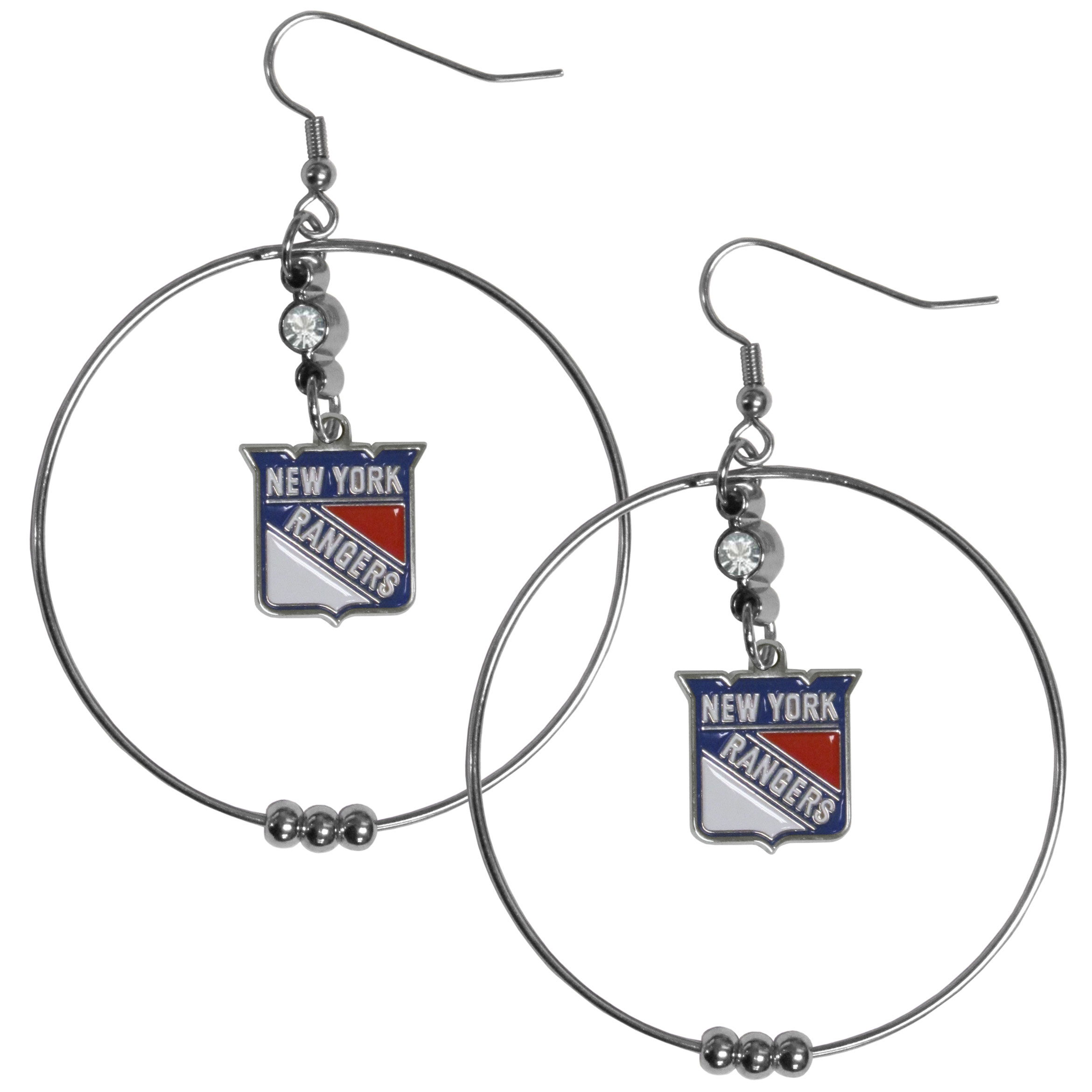 New York Rangers® 2 Inch Hoop Earrings - Our large hoop earrings have a fully cast and enameled New York Rangers® charm with enameled detail and a high polish nickel free chrome finish and rhinestone access. Hypoallergenic fishhook posts.
