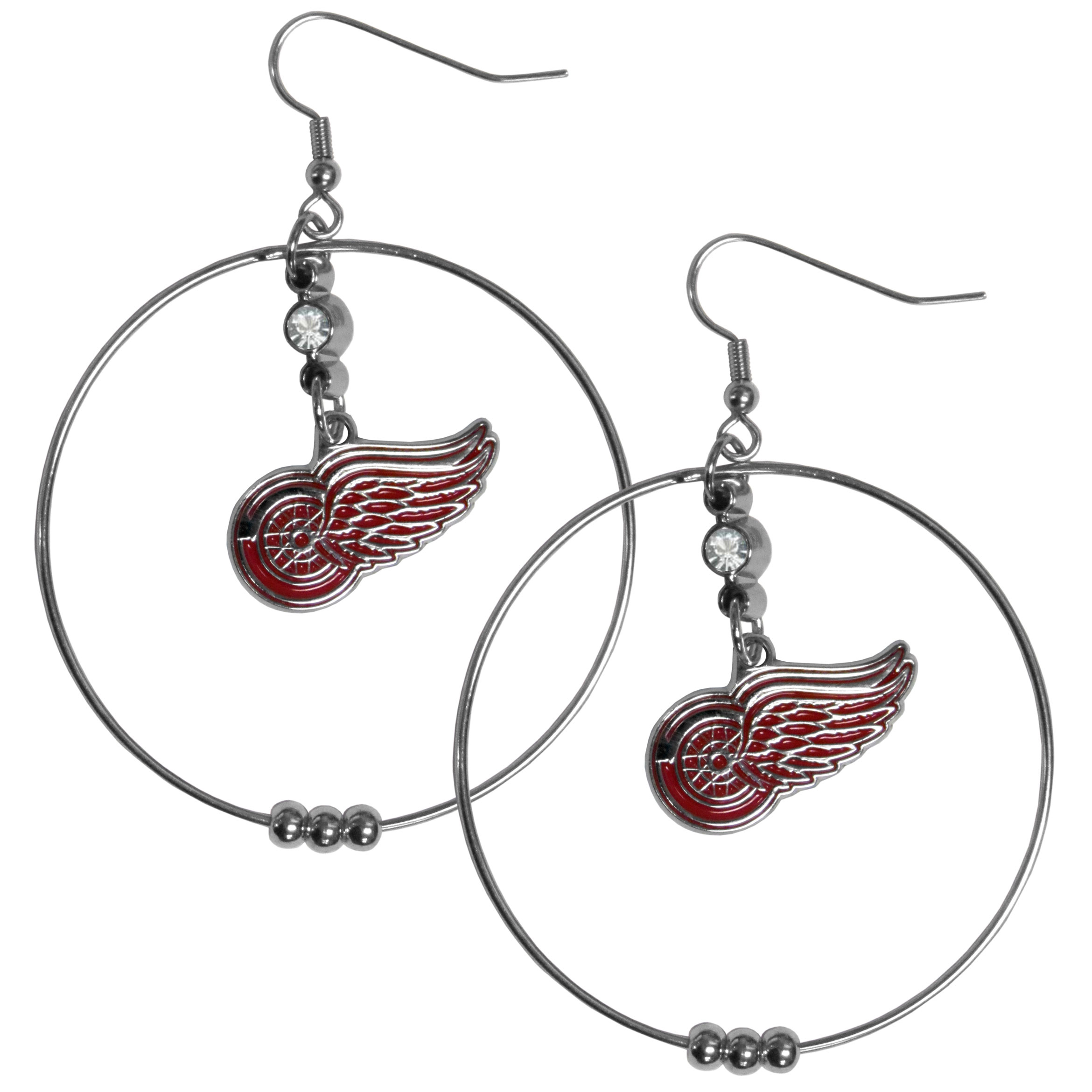 Detroit Red Wings® 2 Inch Hoop Earrings - Our large hoop earrings have a fully cast and enameled Detroit Red Wings® charm with enameled detail and a high polish nickel free chrome finish and rhinestone access. Hypoallergenic fishhook posts.