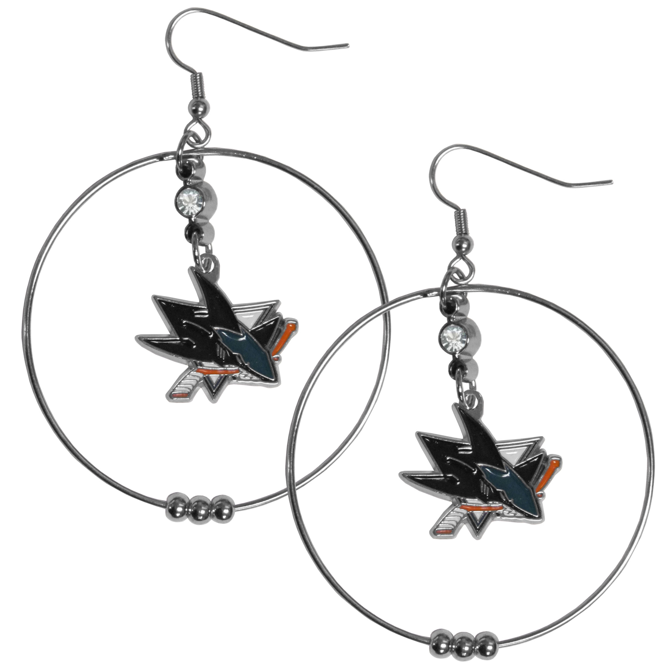 San Jose Sharks® 2 Inch Hoop Earrings - Our large hoop earrings have a fully cast and enameled San Jose Sharks® charm with enameled detail and a high polish nickel free chrome finish and rhinestone access. Hypoallergenic fishhook posts.