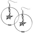 Dallas Stars  2 Inch Hoop Earrings - Our large hoop earrings have a fully cast and enameled Dallas Stars  charm with enameled detail and a high polish nickel free chrome finish and rhinestone access. Hypoallergenic fishhook posts.