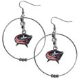 Columbus Blue Jackets  2 Inch Hoop Earrings - Our large hoop earrings have a fully cast and enameled Columbus Blue Jackets  charm with enameled detail and a high polish nickel free chrome finish and rhinestone access. Hypoallergenic fishhook posts.
