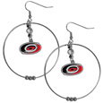 Carolina Hurricanes  2 Inch Hoop Earrings - Our large hoop earrings have a fully cast and enameled Carolina Hurricanes  charm with enameled detail and a high polish nickel free chrome finish and rhinestone access. Hypoallergenic fishhook posts.