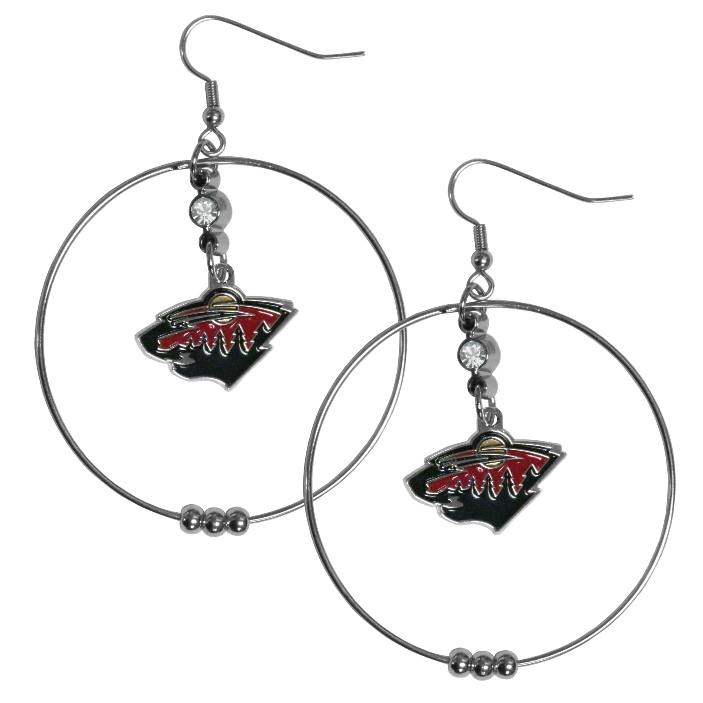 Minnesota Wild® 2 Inch Hoop Earrings - Our large hoop earrings have a fully cast and enameled Minnesota Wild® charm with enameled detail and a high polish nickel free chrome finish and rhinestone access. Hypoallergenic fishhook posts.