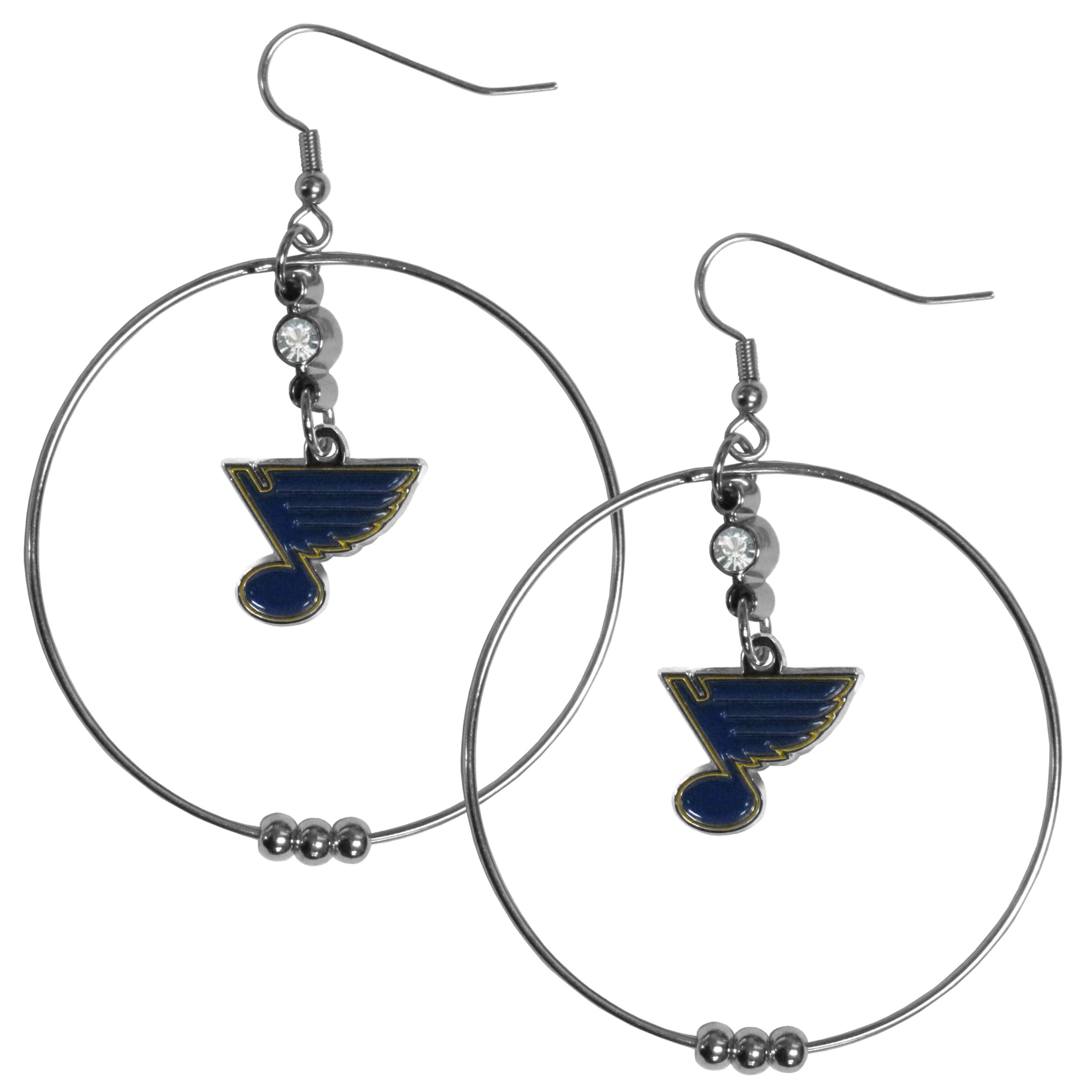 St. Louis Blues® 2 Inch Hoop Earrings - Our large hoop earrings have a fully cast and enameled St. Louis Blues® charm with enameled detail and a high polish nickel free chrome finish and rhinestone access. Hypoallergenic fishhook posts.