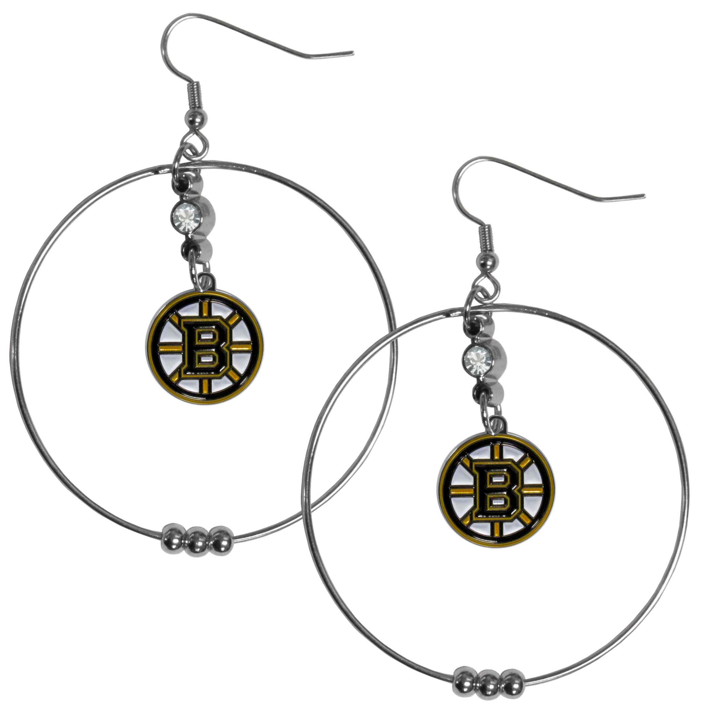 Boston Bruins® 2 Inch Hoop Earrings - Our large hoop earrings have a fully cast and enameled Boston Bruins® charm with enameled detail and a high polish nickel free chrome finish and rhinestone access. Hypoallergenic fishhook posts.