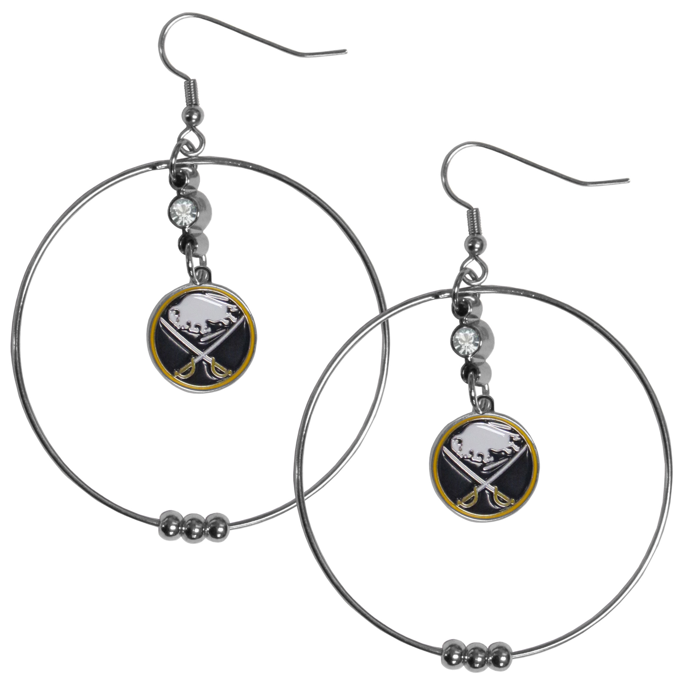 Buffalo Sabres® 2 Inch Hoop Earrings - Our large hoop earrings have a fully cast and enameled Buffalo Sabres® charm with enameled detail and a high polish nickel free chrome finish and rhinestone access. Hypoallergenic fishhook posts.