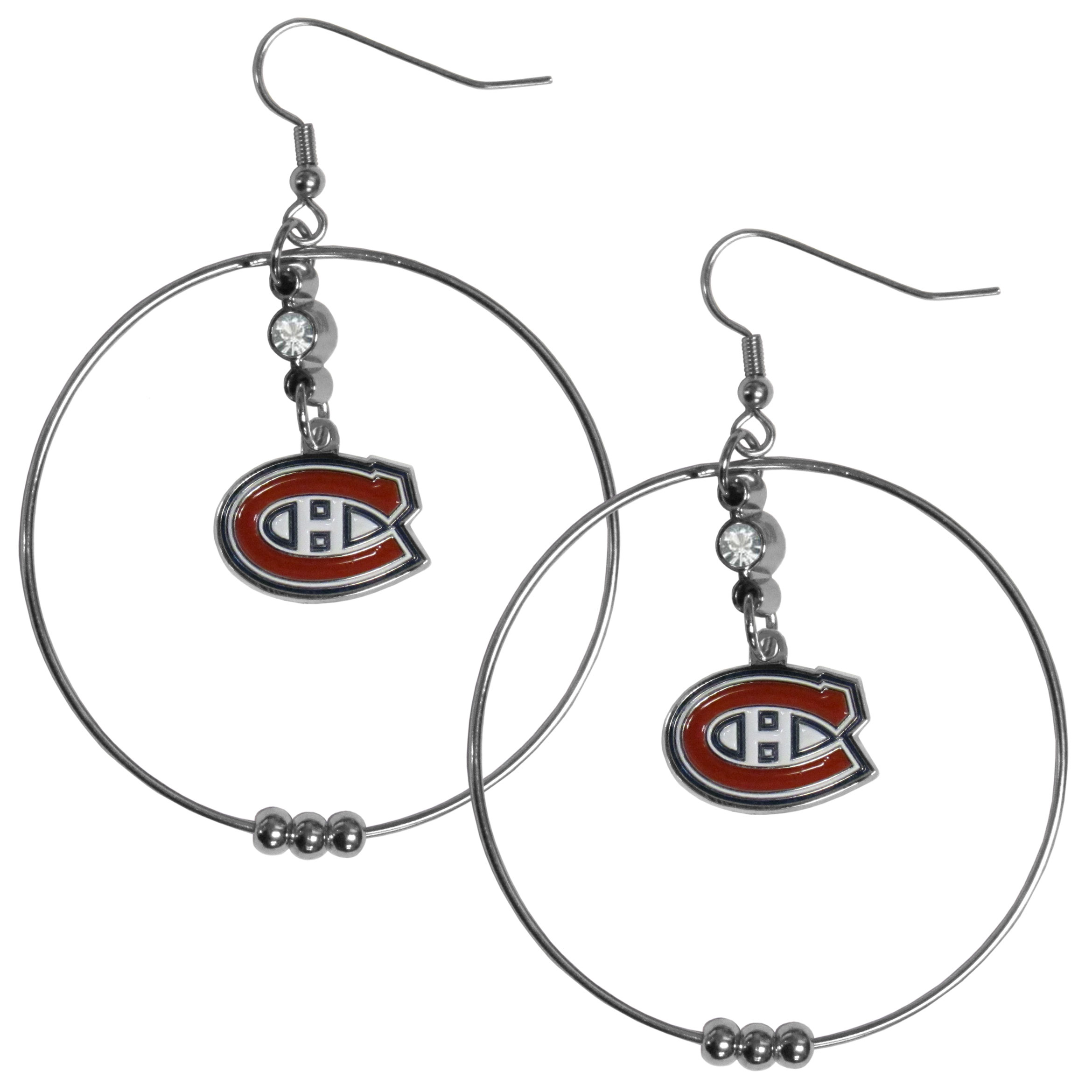 Montreal Canadiens® 2 Inch Hoop Earrings - Our large hoop earrings have a fully cast and enameled Montreal Canadiens® charm with enameled detail and a high polish nickel free chrome finish and rhinestone access. Hypoallergenic fishhook posts.