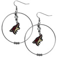 Arizona Coyotes  2 Inch Hoop Earrings - Our large hoop earrings have a fully cast and enameled Arizona Coyotes  charm with enameled detail and a high polish nickel free chrome finish and rhinestone access. Hypoallergenic fishhook posts.