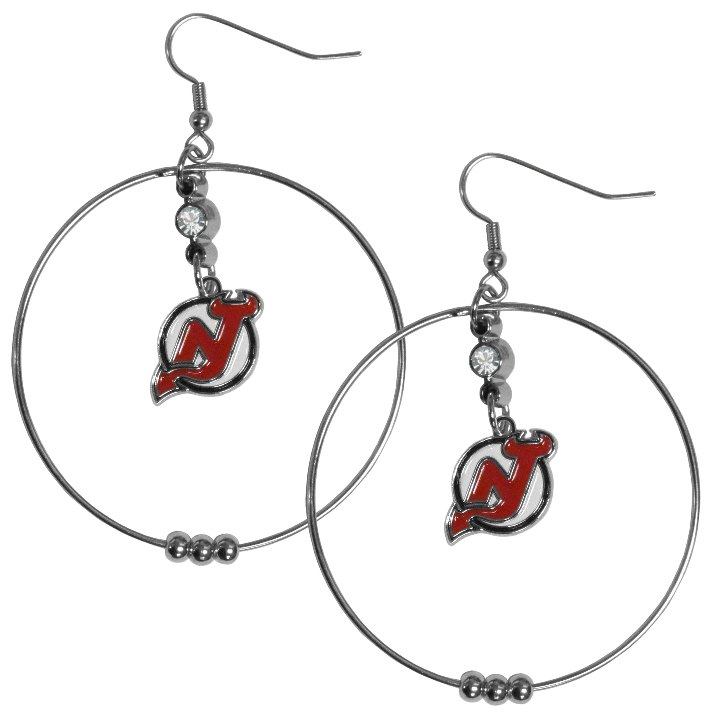 New Jersey Devils® 2 Inch Hoop Earrings - Our large hoop earrings have a fully cast and enameled New Jersey Devils® charm with enameled detail and a high polish nickel free chrome finish and rhinestone access. Hypoallergenic fishhook posts.