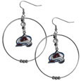 Colorado Avalanche 2 Inch Hoop Earrings - Our large hoop earrings have a fully cast and enameled Colorado Avalanche charm with enameled detail and a high polish nickel free chrome finish and rhinestone access. Hypoallergenic fishhook posts.