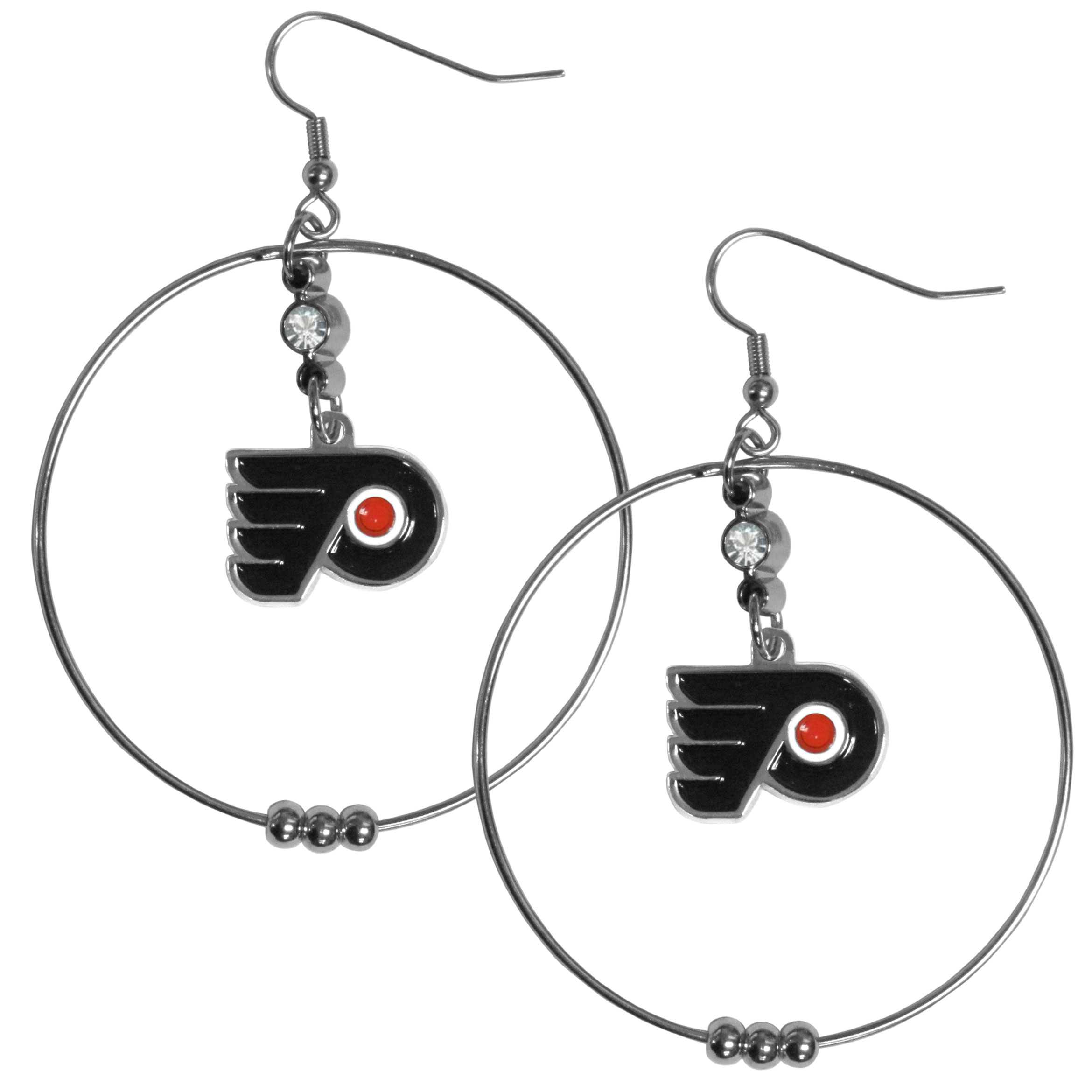 Philadelphia Flyers® 2 Inch Hoop Earrings - Our large hoop earrings have a fully cast and enameled Philadelphia Flyers® charm with enameled detail and a high polish nickel free chrome finish and rhinestone access. Hypoallergenic fishhook posts.