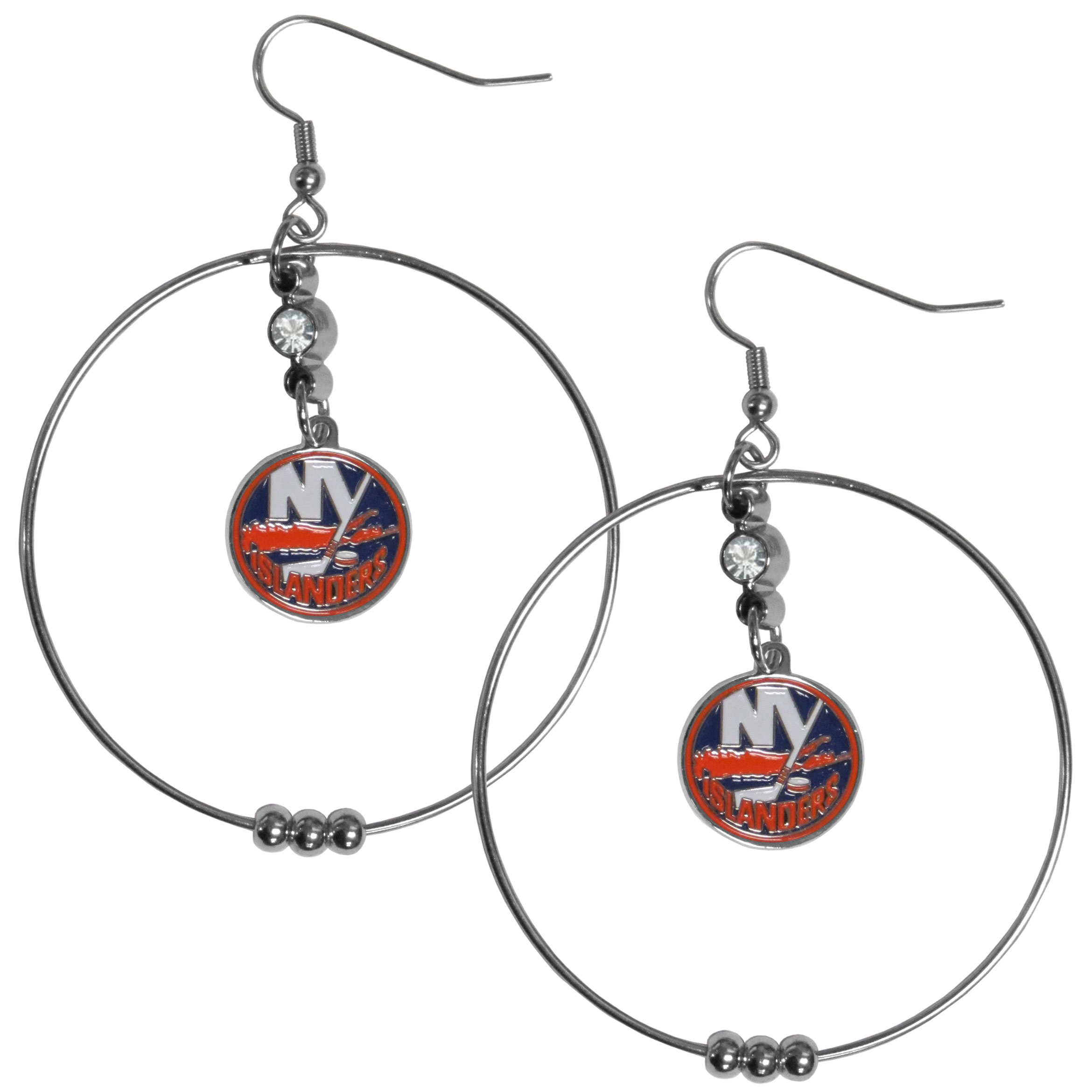 New York Islanders® 2 Inch Hoop Earrings - Our large hoop earrings have a fully cast and enameled New York Islanders® charm with enameled detail and a high polish nickel free chrome finish and rhinestone access. Hypoallergenic fishhook posts.