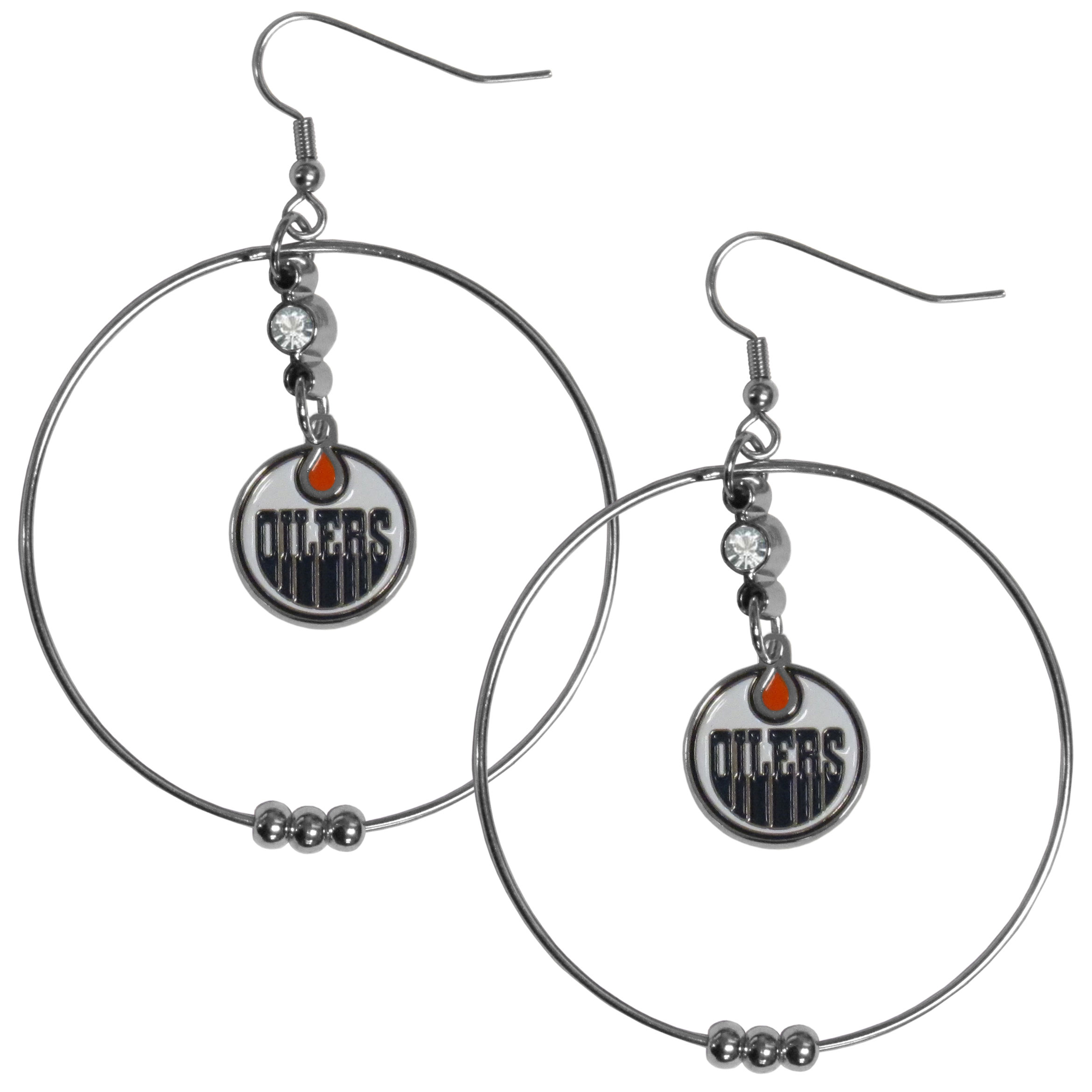 Edmonton Oilers® 2 Inch Hoop Earrings - Our large hoop earrings have a fully cast and enameled Edmonton Oilers® charm with enameled detail and a high polish nickel free chrome finish and rhinestone access. Hypoallergenic fishhook posts.