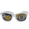 Boston Bruins  I Heart Game Day Shades - Our officially licensed I Heart game day shades are the perfect accessory for the devoted Boston Bruins  fan! The sunglasses have durable polycarbonate frames with flex hinges for comfort and damage resistance. The lenses feature brightly colored team clings that are perforated for visibility.