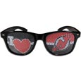 New Jersey Devils  I Heart Game Day Shades - Our officially licensed I Heart game day shades are the perfect accessory for the devoted New Jersey Devils  fan! The sunglasses have durable polycarbonate frames with flex hinges for comfort and damage resistance. The lenses feature brightly colored team clings that are perforated for visibility.