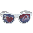 Colorado Avalanche I Heart Game Day Shades - Our officially licensed I Heart game day shades are the perfect accessory for the devoted Colorado Avalanche fan! The sunglasses have durable polycarbonate frames with flex hinges for comfort and damage resistance. The lenses feature brightly colored Colorado Avalanche team clings that are perforated for visibility.