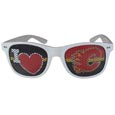 Calgary Flames  I Heart Game Day Shades - Our officially licensed I Heart game day shades are the perfect accessory for the devoted Calgary Flames  fan! The sunglasses have durable polycarbonate frames with flex hinges for comfort and damage resistance. The lenses feature brightly colored team clings that are perforated for visibility.
