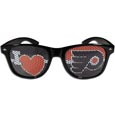 Philadelphia Flyers  I Heart Game Day Shades - Our officially licensed I Heart game day shades are the perfect accessory for the devoted Philadelphia Flyers  fan! The sunglasses have durable polycarbonate frames with flex hinges for comfort and damage resistance. The lenses feature brightly colored team clings that are perforated for visibility.