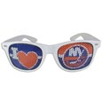 New York Islanders  I Heart Game Day Shades - Our officially licensed I Heart game day shades are the perfect accessory for the devoted New York Islanders  fan! The sunglasses have durable polycarbonate frames with flex hinges for comfort and damage resistance. The lenses feature brightly colored team clings that are perforated for visibility.