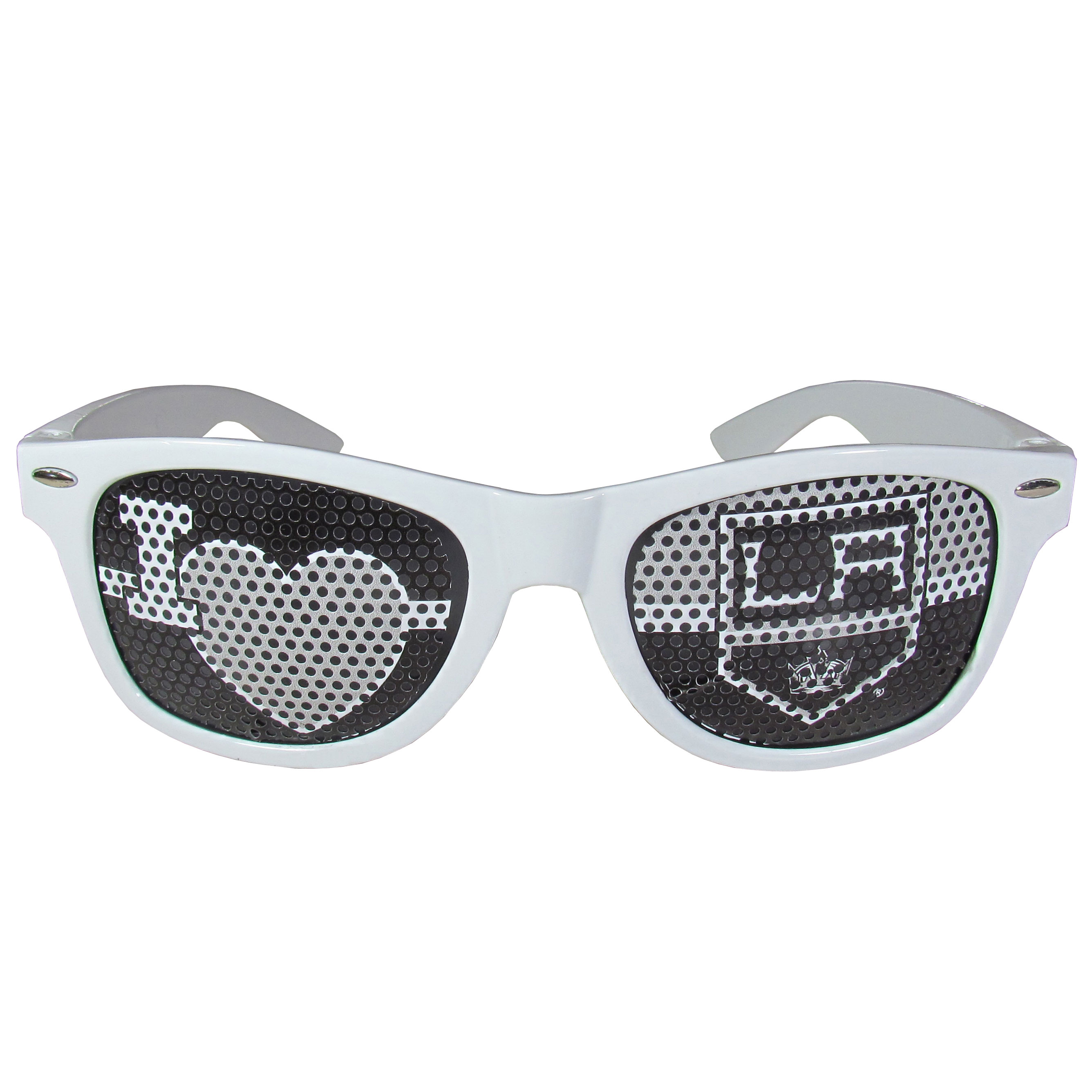 Los Angeles Kings® I Heart Game Day Shades - Our officially licensed I Heart game day shades are the perfect accessory for the devoted Los Angeles Kings® fan! The sunglasses have durable polycarbonate frames with flex hinges for comfort and damage resistance. The lenses feature brightly colored team clings that are perforated for visibility.