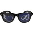 Tampa Bay Lightning  I Heart Game Day Shades - Our officially licensed I Heart game day shades are the perfect accessory for the devoted Tampa Bay Lightning  fan! The sunglasses have durable polycarbonate frames with flex hinges for comfort and damage resistance. The lenses feature brightly colored team clings that are perforated for visibility.